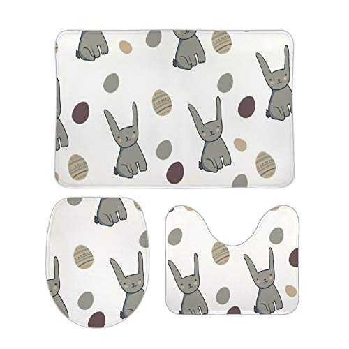 Yilooom Gray Bunny Pattern 3-Piece Set of Non Slip Bath Rugs Including Bathroom Mat Contour Mat Toilet Lid Cover Home Doormat 18 X 30 inch