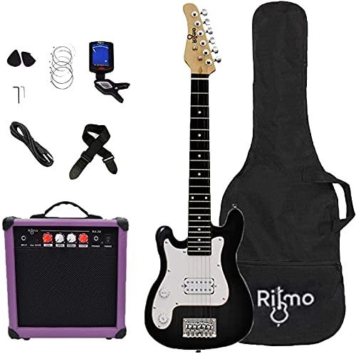 Left Hand Kids 30 Inch Electric Guitar w/Amp Complete Bundle Kit for Beginners-Starter Set Includes 6 String Tremolo Guitar, 20W Amplifier 2 Picks, Shoulder Strap, Tuner, Bag Case - Black