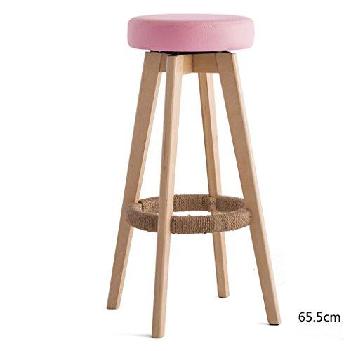 Rollsnownow Coussin rose en bois en bois haute chaise de bar 65cm Tabouret haut chaise pivotante moderne simplicité