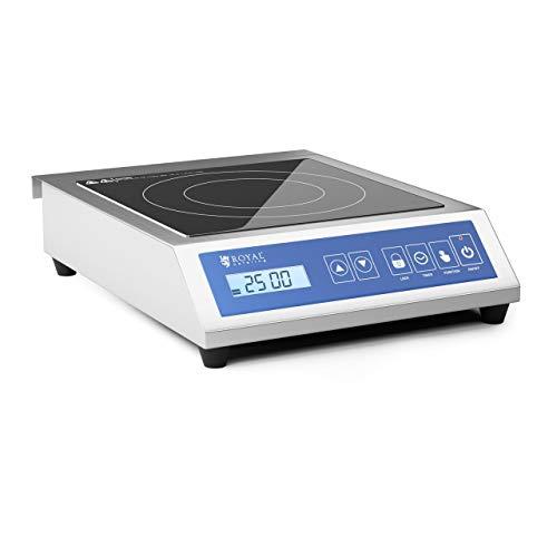 Royal Catering Placa De Inducción Portátil Para Cocinar RCIK-3500GP (Hasta 3500 W, De 60 a 240 °C, Temporizador, Capacidad máx. de 30 kg, Táctil, 28 cm)