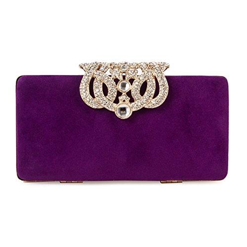 Baigio Luxe Sac de Soirée de Mariage d'embrayage portefeuille Coque Cristal Diamant Sac À Main Pour Fille, Violet