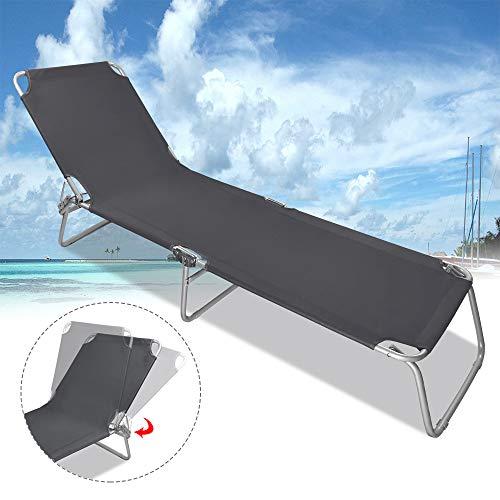 Froadp Faltbare Liegen Gartenmöbel Klappbar Relaxsessel Freizeit Strandliegen für Garten Haushalt Pool Strand 188x56x27cm(Schwarz)