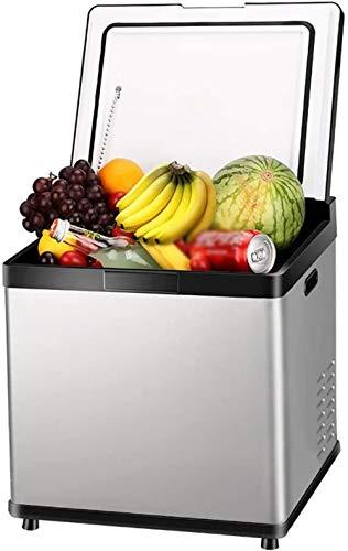 PULLEY Refrigerador eléctrico para nevera, calentador de refrigerador, conexión LED de control táctil, compatibilidad de alimentación AC+CC, refrigeradores de 57 x 33,5 x 32,4 cm (color: blanco)