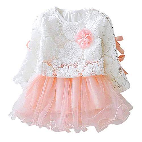 Falda de encaje para niña, manga larga, vestido de princesa con lazo...