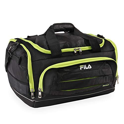FILA Unisex-Erwachsene Cypress Small Sport Duffel Bag Seesack, Schwarz/Neon Lime, Einheitsgröße