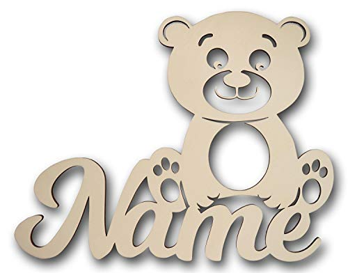 #A014 LED Holz Teddy mit Namen zum Geburtstag Geburt Taufe für Babys Mädchen Junge Erwachsene