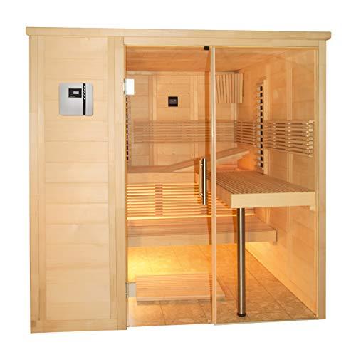 SAUNELLA Sauna + Infrarotkabine | Infrarotsauna Bausatz Heimsauna Maße: 208 x 206 x 204 cm | Saunakabine Saunaofen Komplett Sauna Zubehör Ecksauna Massivholz | ext. Steuerung 7,5 kW