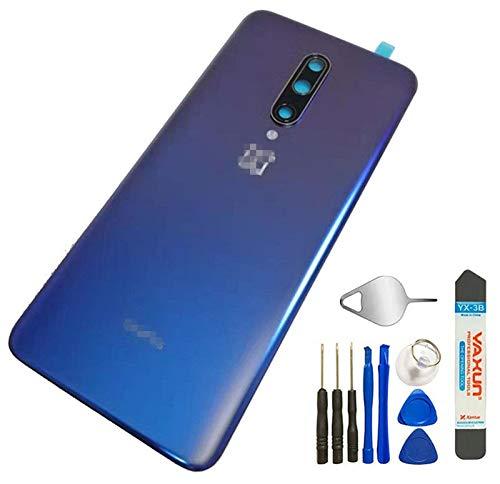 Capa traseira de vidro do painel traseiro da bateria + lente da câmera para Oneplus 7 Pro GM1910 GM1917 / 1+7 Pro, Azul