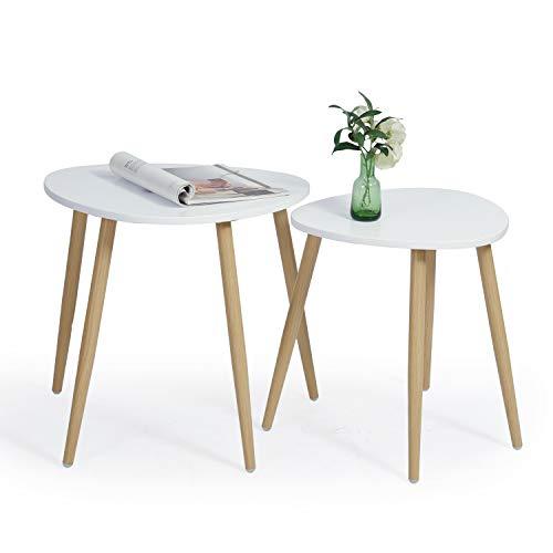 Couchtisch Weiß Beistelltisch-Set rund 2 Moderne Sofatische Wohnzimmertisch Nachttisch
