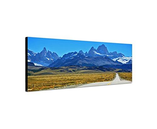 Quadro stampa su tela come Panorama in 150x 50cm Patagonia andini prati strada neve