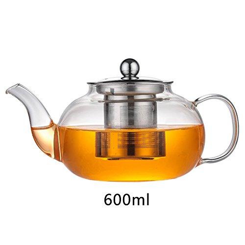 Tetera de cristal – Capacidad de volumen 800 ml – Filtro de acero inoxidable extraíble y filtro de boquilla – Vidrio de borosilicato resistente al calor Tipo: 600 ml.