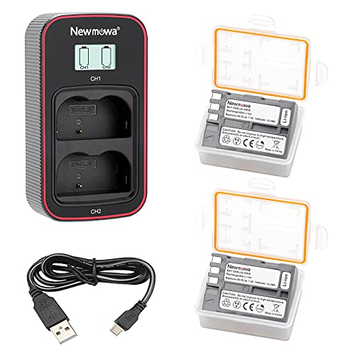 Newmowa EN-EL3 Batería de Repuesto (Paquete de 2) y Cargador USB Dual con Pantalla LCD Inteligente para Nikon EN-EL3 y Nikon D50, D70, D70s, D80, D90, D100, D200, D300, D300S, D700