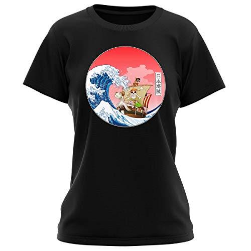 T-Shirt Femme Noir Parodie One Piece - La Grande Vague de Kanagawa et Le Vogue Merry - Pirates en mer du Japon. : (T-Shirt de qualité Premium de Taille L - imprimé en France)