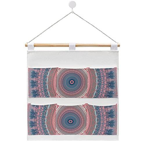 Bolsa de almacenamiento para colgar en la pared, diseño de mandala, color rosa y azul con 6 bolsillos para la familia, baño, dormitorio, cocina