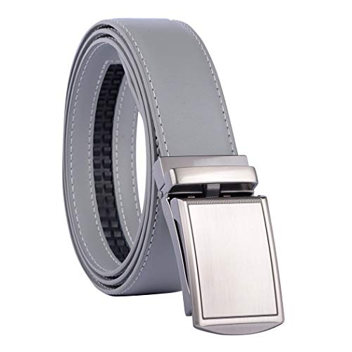 Men's Solid Buckle with Automatic Ratchet Dress Genuine Leather Belt 35mm Wide 1 3/8' - Trim to Fit