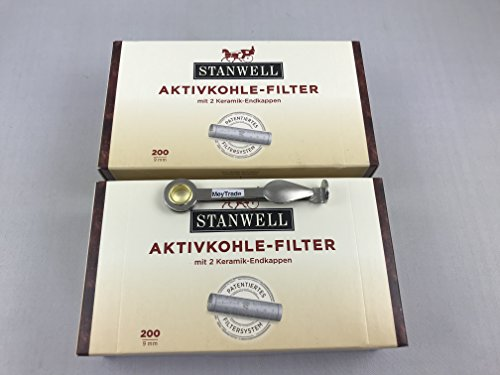 Stanwell 2 x 200 Pfeifenfilter Filter 9mm Pfeife 200er Packung inkl. gratis Pfeifen Besteck