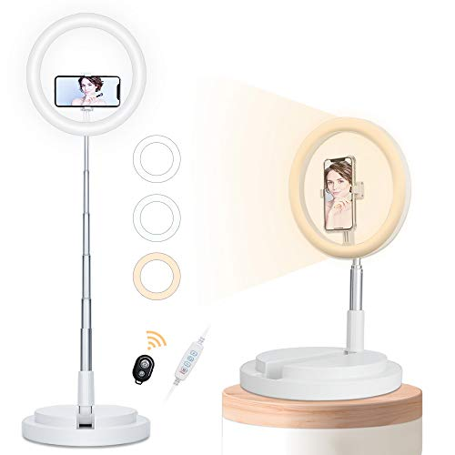Foldable Ring Light, 20-67.3in High Portable Ring Light with Stand, 3 Color Modes Selfie Ring Light for iPhone & Android, Travel Ring Light for Blogger/Live Stream/Makeup/Meeting, White