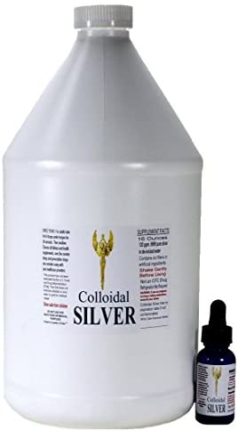 Temp Flash Sale to Amazon Shoppers! GOE 1 Gallon Colloidal Silver 120ppm + 1 Oz 120ppm Colloidal Silver Filled Dropper Bottle. 20 Times More Powerful Than Others.