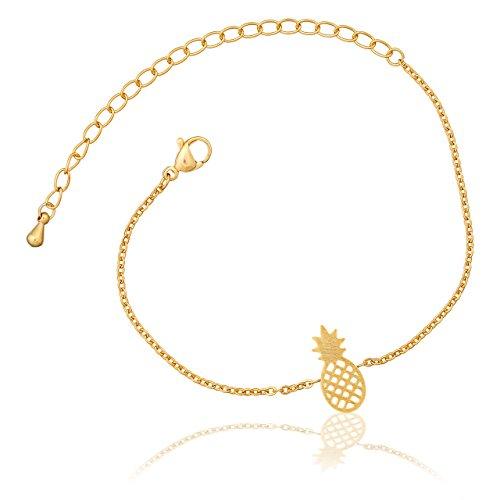 Selia Ananas Armband Pineapple Armreif Fruit minimalistische Optik Edelstahl handgemacht (Gold)