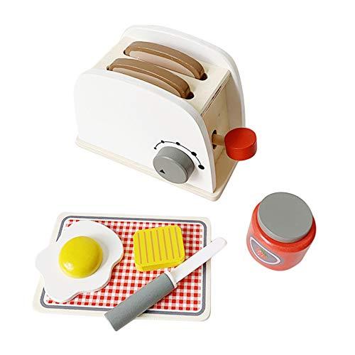 Godong - Juego de utensilios de cocina de madera para niños, accesorios de cocina, regalo juguetes educativos para niños, máquina de pan, 18 x 8,7 cm