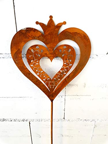 Blümelhuber Décoration de jardin en forme de cœur en métal patiné 118 cm