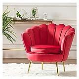 HAQTXI Sillón de Acento de Barril de Terciopelo con Forma de pétalo Moderno Sillón de Acento con Patas de Metal Sofás Minimalistas Sofás Individuales for Dormitorio de Sala de Estar (Color : Red)
