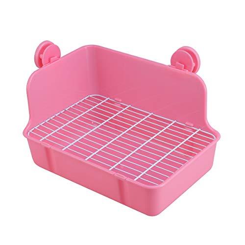 POPETPOP Inodoro para mascotas, bandeja para entrenamiento de baño, caja de arena para perro, conejo, cobaya, tamaño grande (rosa)