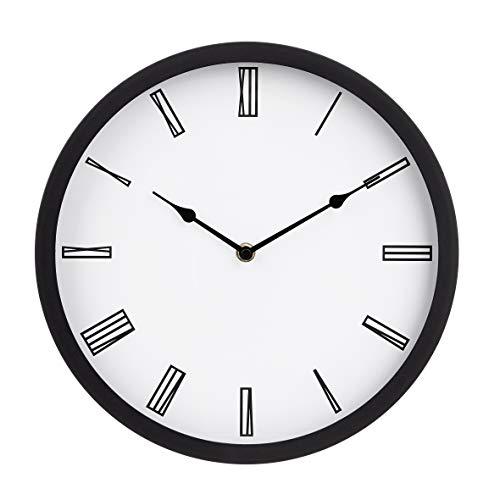 AmazonBasics - Reloj de pared romano, 30,5 cm, negro