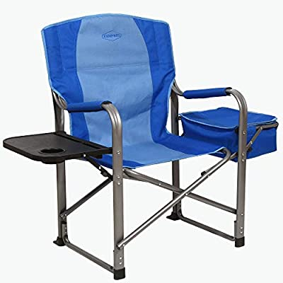 Kamp-Rite KAMPCC116 Director's Chair Outdoor Furniture Camping Folding Sports Chair with Side Table, Cup Holder, and 12 Can Ice Cooler, 2 Tone Blue