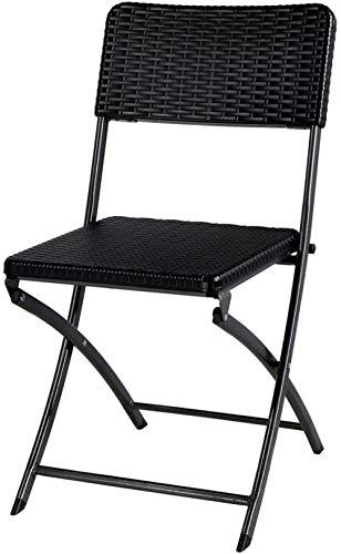 'N/A' Conjunto de 2 sillas de jardín Plegables Estilo Resina Tejida Negra