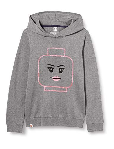 LEGO Mädchen Mwa Kapuze und Glitzerdruck Sweatshirt, 921 Grey Melange, 110