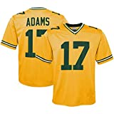 HQIUYI Green Bay Packers # 17 Adams NFL Rugby T-Shirt, Inverted Legend Jersey Short Sleeve Sweatshirt