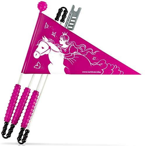 Karl Drais ® Fahrradwimpel Prinzessin auf Pferd aus reißfester Plane | Fahrrad Wimpel | Mädchen Sicherheitswimpel Prinzessinnen (Fahrradfahne)