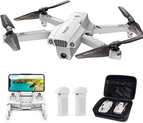 Tomzon Faltbare GPS Drohne mit 4K UHD Kamera, FPV Drohne,195g,RC Quadcopter mit Return-to-Home,Intelligente Flugmodi,Follow Me, Circle Fly, Waypoint,MV-Modus, 2 Batterien für 40 Minuten,Tragetasche