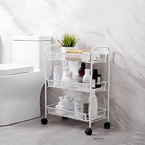 HONYGE LXGANG Cesta de la compra estante independiente del cuarto de baño, hierro forjado, estante extraíble en capas, carrito de baño, piso de múltiples capas de almacenamiento de cosméticos