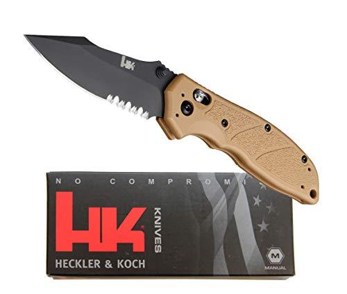 Hogue Messer von Heckler & Koch Made by Exemplar Dark Earth mit HK Emblem, Sticker, Waffenöl, Neoprencase, Pivot Lock, Schwarze Beschichtung 154 cm 8,3cm, Griff G10 im Pistolen Design