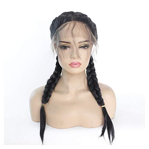 Bin Zhang Avant de dentelle européenne et américaine perruque perruque deux tresses noir femme (Color : Black)