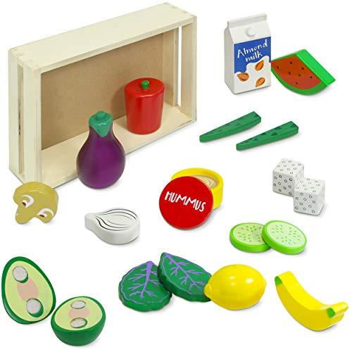 Kidzlane Wooden Vegan Food Set with Storage Crate | Wooden Play Food Kitchen Toy | First Vegan Pretend Food Wooden Set | 20 Piece Set | Ages 3+
