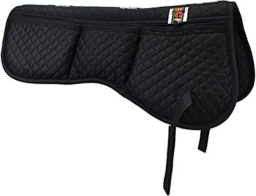 ECP All Purpose Diamond Quilted Cotton English Half Saddle Pad with Therapeutic Contoured Correction Support Pockets - 18 Memory Foam Shims Included