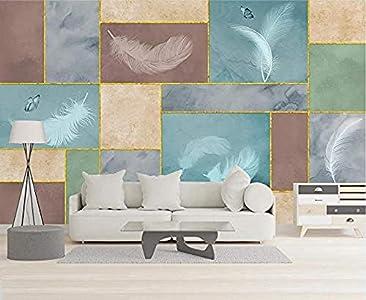Mosaico geométrico creativo Bloque de color Línea dorada Pluma Fondos de pantalla 3D Dormitorio Fond Pared Pintado Papel tapiz 3D Decoración dormitorio Fotomural sala sofá pared mural-400cm×280cm