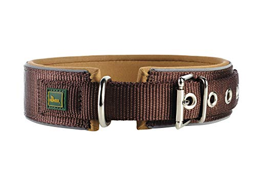 HUNTER NEOPREN REFLECT Hundehalsband, Nylon, Neopren gepolstert, reflektierend, 45 (S-M), braun/karamell