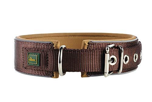 HUNTER NEOPREN REFLECT Hundehalsband, Nylon, Neopren gepolstert, reflektierend, 55 (M-L), braun/karamell