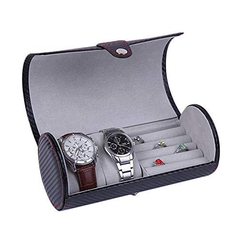 Uhrenbox Uhren Uhrenkoffer, Carbon-Faser PU-Leder-Rolle Reise-Uhr-Kasten-Organisator-Halter-Ring-Ohrring-Schmuckaufbewahrung Vitrine Geschenk Schwarz Herren Organizer Uhrenkasten Aufbewahrungsbox,