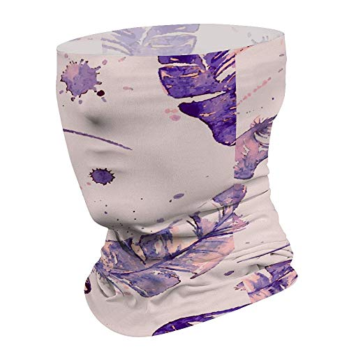 Yilooom Purple Feathers, Seamless Face Mask Bandanas, Unisex Face Scarf for Outdoor Dust Wind Sun Protection