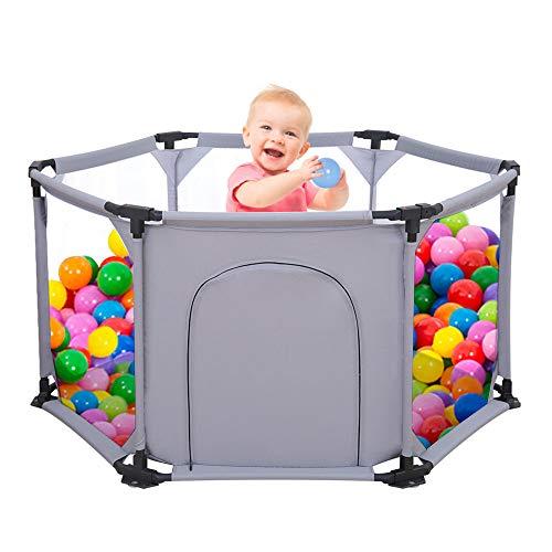 Parque Infantil de 6 Paneles, Portátil, Lavable, Con Malla Transpirable Para Bebés, Recién Nacidos, Interiores y Exteriores Marrón marrón (gris)