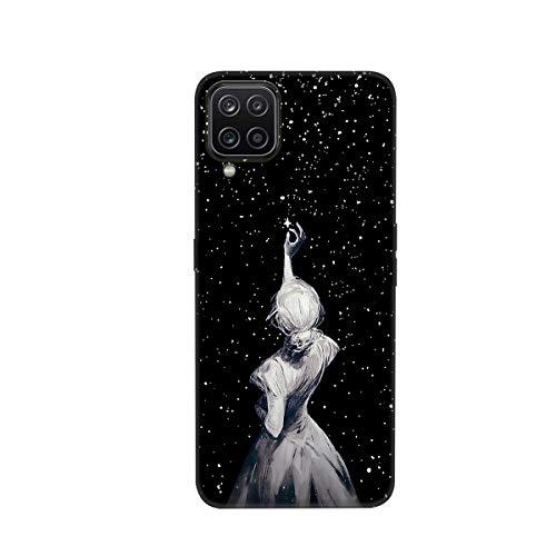 HopMore Compatible con Samsung Galaxy A12 de silicona suave diseño bonito delgado gel a prueba de golpes negro cubierta protectora parachoques divertido patrón para niñas mujeres hombres - D