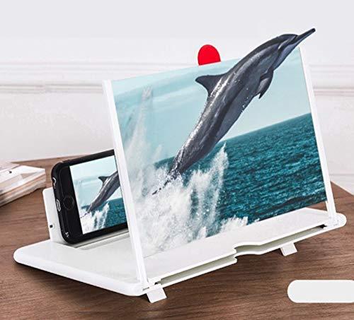 Eastor 3D Handy Bildschirmlupe, 10 Zoll Faltbarer Handy Bildschirmverstärker, Für Filme, Videos, Spiele, 3-4 Fache Vergrößerung, Entspiegelt,Kompatibel mit Allen Smartphones (Weiß)