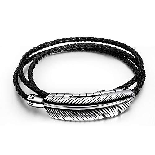ZZBB Pulsera de cuero de plumas de acero de titanio para hombre de moda multicapa de acero inoxidable tejido cuerda de mano de cuero