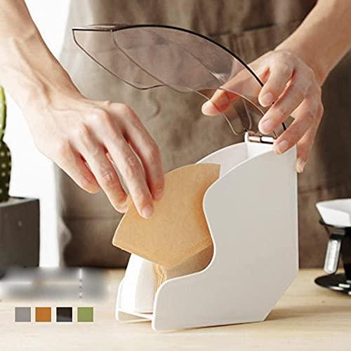 Filtro de café Caja de soporte de papel Servilletas Dispensador Estante Contenedor de almacenamiento Soporte Estante Cubierta acrílica para utensilios de cocina para el hogar-Negro