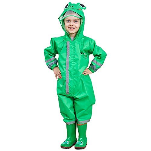 Adorel Chubasquero Mono Impermeable con Capucha para Niños Verde Rana 2-4 Años (Tamaño de la Fabricante S )